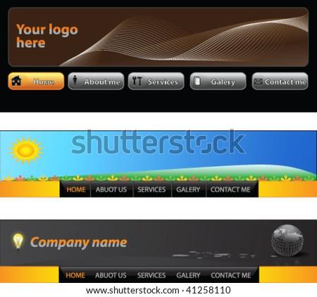 Web menu header set - vector - stock vector