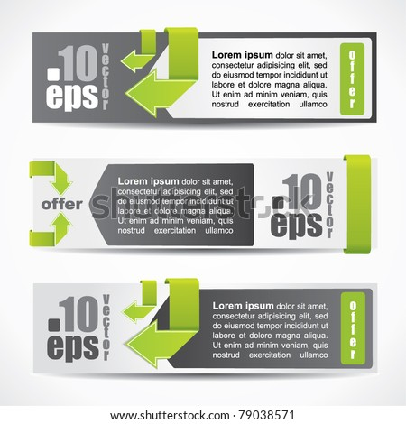 Web2 modern web style horizontal banner set with labels and arrows - stock vector