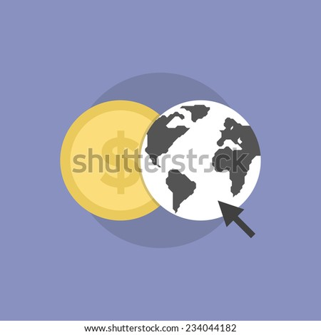 Web money conversion, online finance communication, internet trading and banking. Flat icon modern design style vector illustration concept. - stock vector