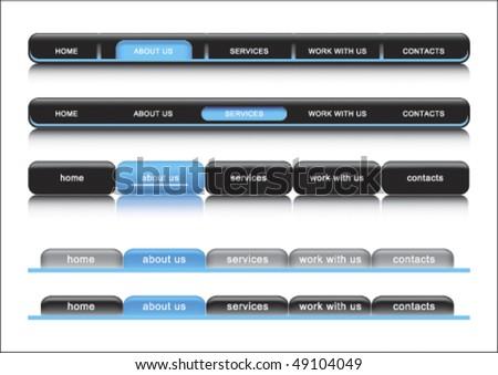 Web navigation bar, blue template - stock vector