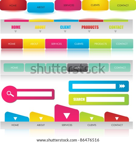 web navigation bars with search bars in bright colors - stock vector
