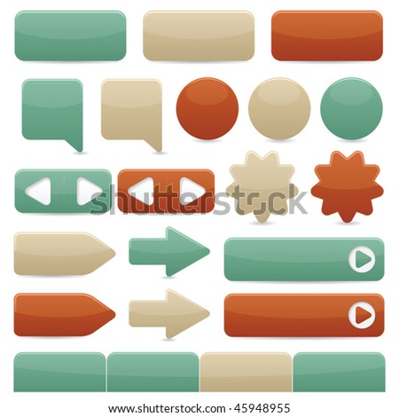 Web navigation buttons in copper, tan & turquoise colors - stock vector