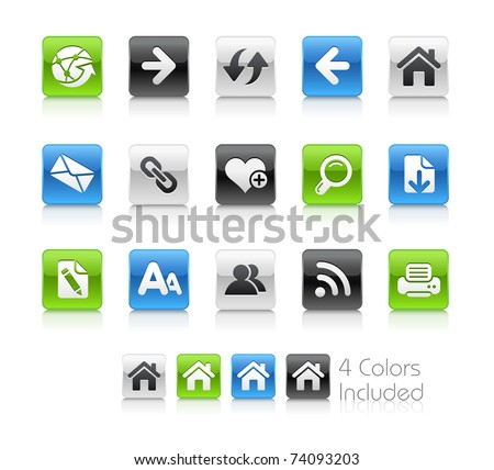 Web Navigation Icons // Clean Series -------It includes 4 color versions for each icon in different layers --------- - stock vector