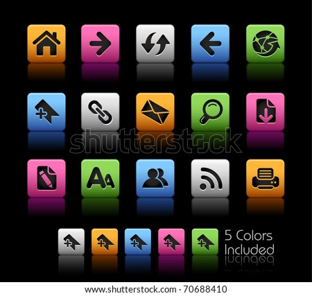 Web Navigation Icons// Color Box -------It includes 5 color versions for each icon in different layers --------- - stock vector