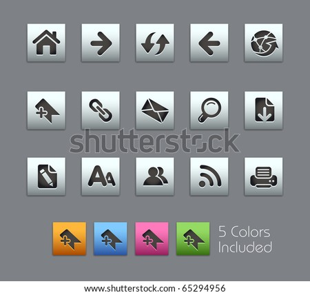 Web Navigation // Satinbox Series -------It includes 5 color versions for each icon in different layers --------- - stock vector