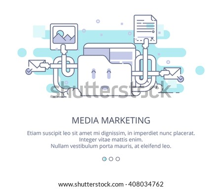 Web Page Design Template of Cloud Computing and Storage. Data Storage, Cloud Computing, Web Sites Hosting, Media Marketing. Flat Layout Style, Line Business Concept, Vector Illustration - stock vector