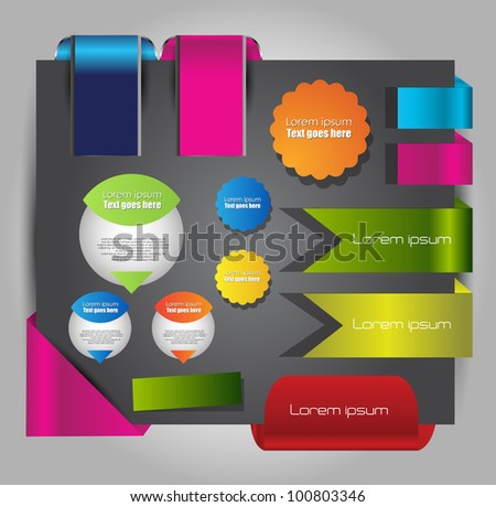 web page labels stickers and banners - stock vector