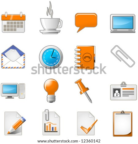 Web page or office theme icon set - stock vector
