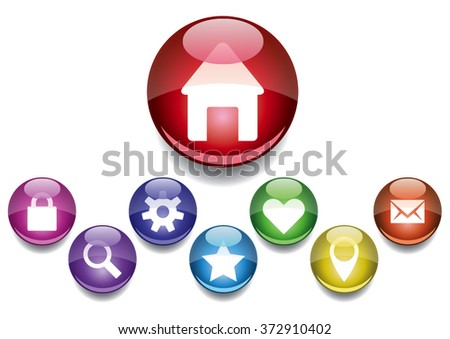 Web page or software icons and buttons. - stock vector