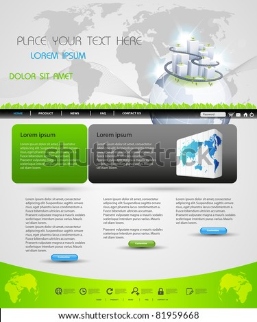 web page template design for business homepage, easy editable - stock vector