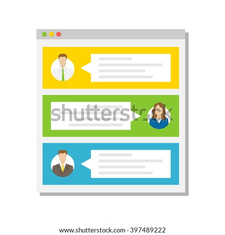 Web page with users' commentaries (comments, testimonials) vector illustration. Web page with textboxes creative concept.  - stock vector