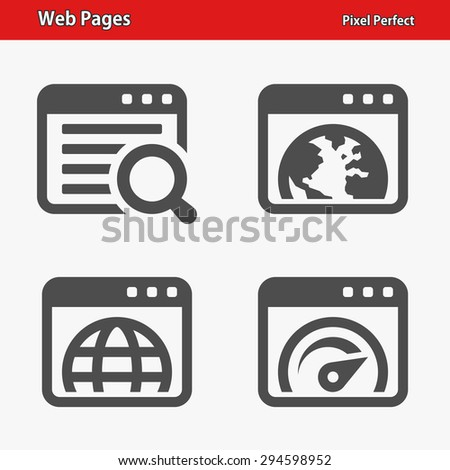 Web Pages Icons. Professional, pixel perfect icons optimized for both large and small resolutions. EPS 8 format. - stock vector