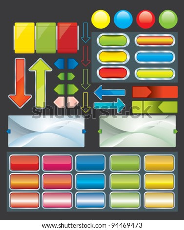 web pages templates and buttons - stock vector