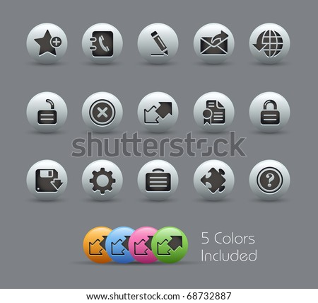 Web 2.0 // Pearly Series -------It includes 5 color versions for each icon in different layers --------- - stock vector