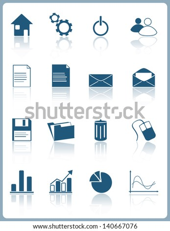 Web pictograms and icons with reflection - stock vector