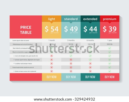 Web pricing table design for business .Vector illustration. - stock vector