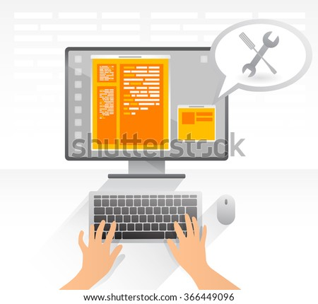 Web programmer is write a code for better security on web page. Service, repairing, hand typing on keyboard. Vector illustration. - stock vector