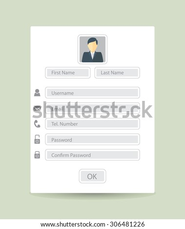 Web registration form, flat design. Vector - stock vector