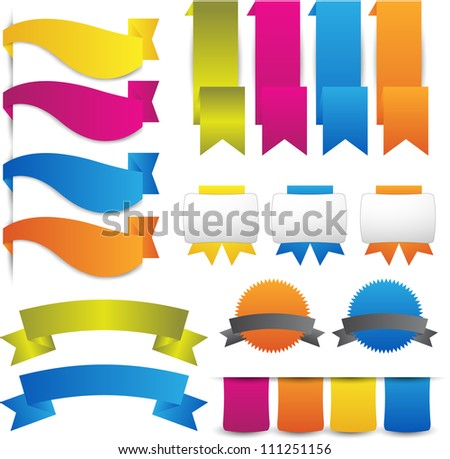 web ribbons badges banners - stock vector