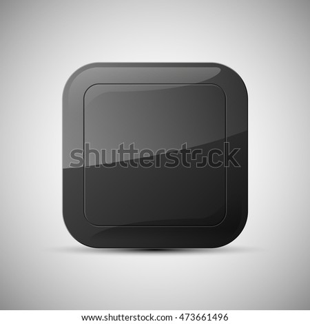 web rounded button for website or app. Isolated bell sign with border, reflection and shadow on background. Vector eps10.