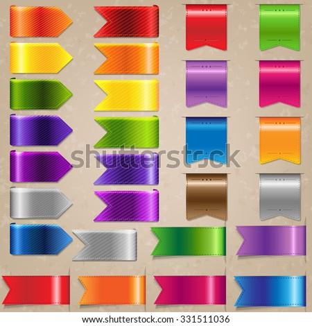 Web Satin Ribbon Set, Vector Illustration - stock vector