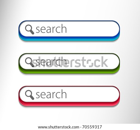 Web search bars with includes three color versions. - stock vector