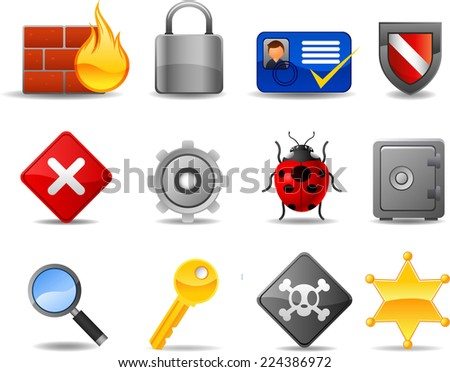 Web Security icon set, with Firewall Badge Locked Safe Key Password. Vector illustration cartoon.  - stock vector