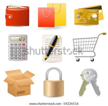 Web Shop icon set. On-line Internet Shop. - stock vector