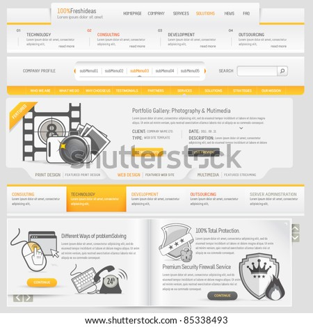 Web site design navigation template elements with icons set - stock vector