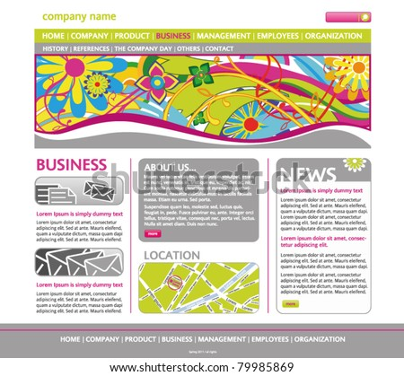 Web site design template – dynamic layout (floral header background) - stock vector