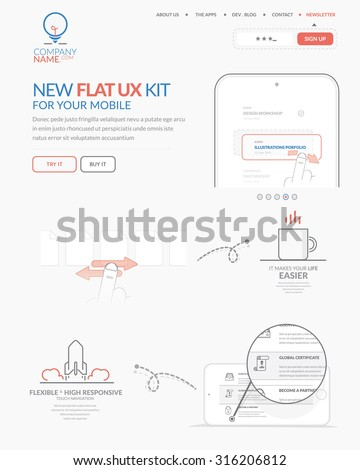 Web site design template navigation elements: Home page of technology website with personal company concept logo and icons - stock vector