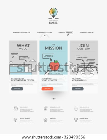 Web site design template navigation elements: Home page of website with personal company concept logo and icons - stock vector