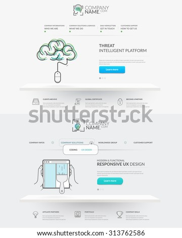 Web site design template navigation elements: Set of two front pages of website with personal company concept logo and icons - stock vector