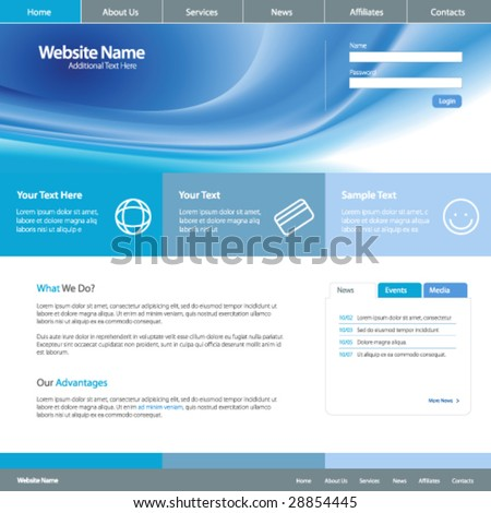 Web site design template 4, vector - stock vector