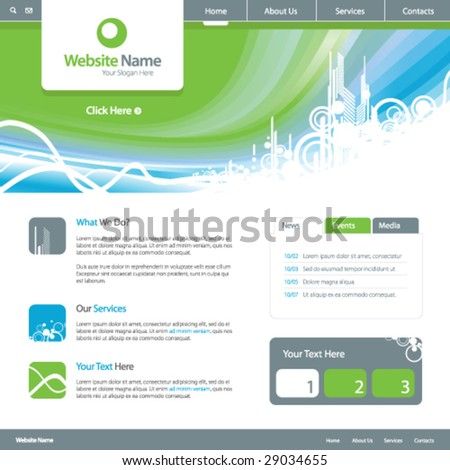 Web site design template 5, vector - stock vector