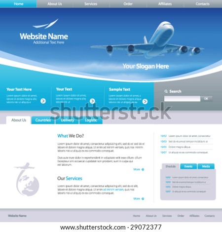Web site design template 6, vector - stock vector
