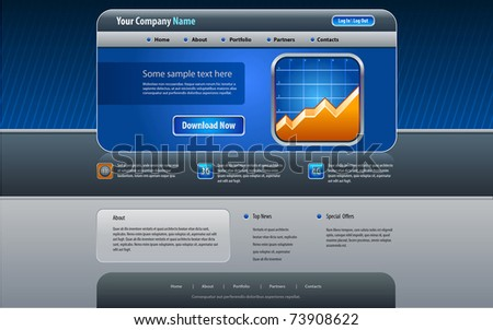 Web site design template, vector. (Real size) - stock vector