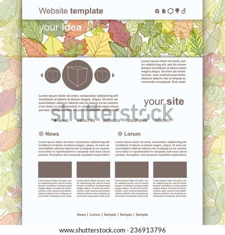 Web Site Design Template with autumn leafs, vector - stock vector