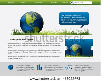 Web site design template with Earth Globe - stock vector