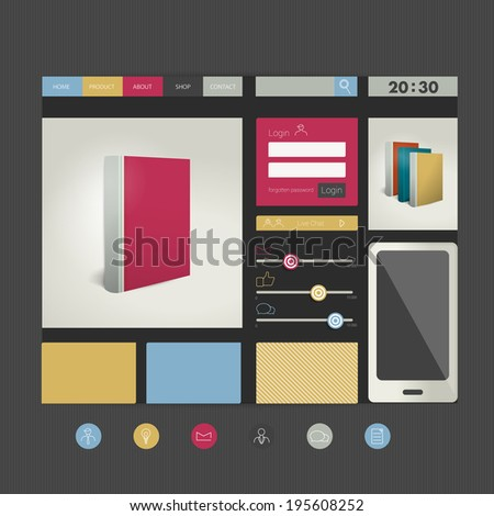 Web site flat design template. Book concept. Vector background.  - stock vector