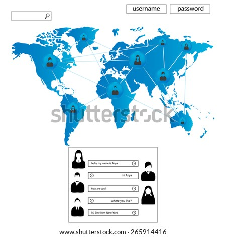 Web site for dating, friendship and communication. - stock vector