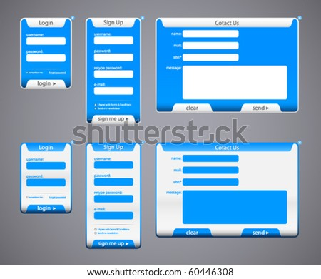 Web site form and elements set - stock vector