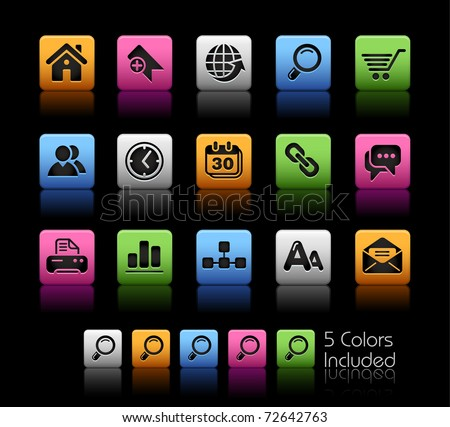 Web Site & Internet Icons // Color Box -------It includes 5 color versions for each icon in different layers --------- - stock vector