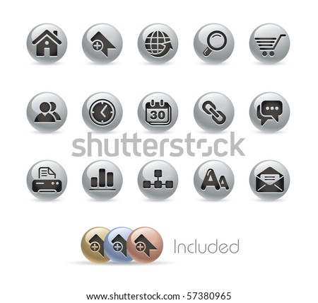 Web Site & Internet // Metal Round Series --- It includes 4 color versions for each icon in different layers.--- - stock vector
