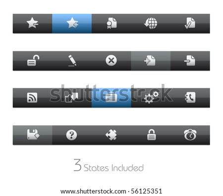 Web Site & Internet Plus // Blackbar Series +++ It includes 3 buttons states in different layers. +++ - stock vector