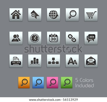 Web Site & Internet  // Satinbox Series -------It includes 5 color versions for each icon in different layers --------- - stock vector