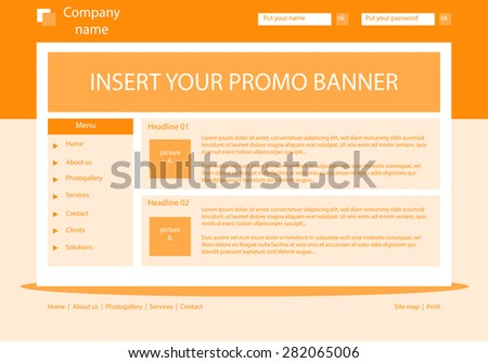 Web site light orange template layout with text