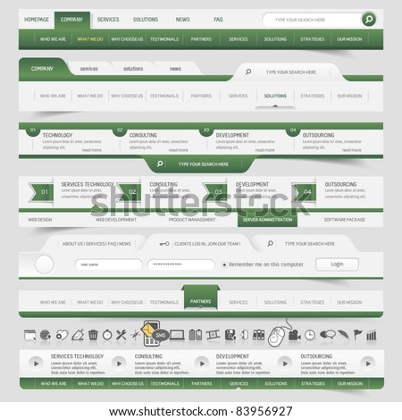 Web site navigation elements - stock vector