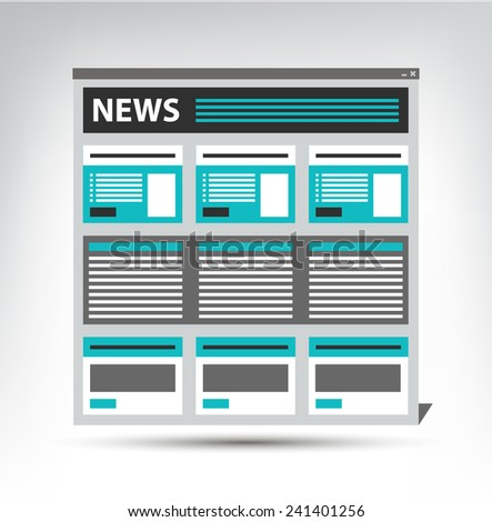 web site news, newspaper, journal template in a browser window, vector eps10 - stock vector