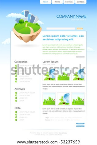 Web site template for your blog. vector illustration - stock vector